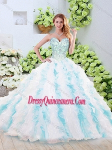 Fashionable Brush Train Quinceanera Gowns with Beading and Ruffles for 2016