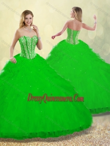 2016 Best Ruffles and Beading Detachable Quinceanera Gowns
