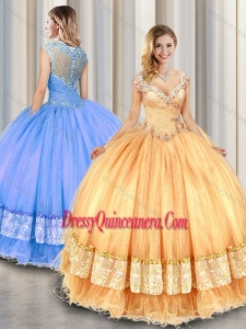 2016 Fashionable Straps Beading and Appliques Sweet 16 Gowns