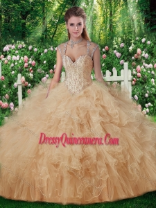 2016 Luxurious Beading Quinceanera Dresses in Champange