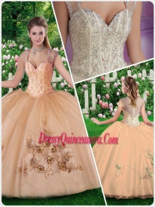 2016 New Style Straps Champange Quinceanera Dresses with Beading and Appliques