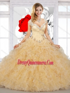 2016 Top Selling Puffy Straps Champagne Sweet 16 Dresses with Beading and Ruffles