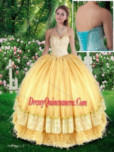 Beautiful Ball Gown Champange Quinceanera Gowns with Beading for Fall