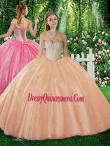 Simple Ball Gown Sweetheart Beading Champagne Sweet 16 Dresses