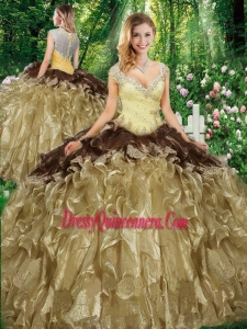 Wonderful Straps Champagne Sweet 16 Gowns with Beading and Ruffles