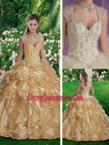 Fashionable Sleeveless Beading Sweet 16 Gowns in Champange