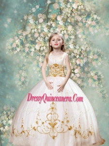 Perfect Ball Gown Scoop Mini Quinceanera Dresses in White and Gold