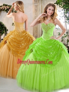 Classic Sweetheart Beading and Paillette Quinceanera Gowns for Spring