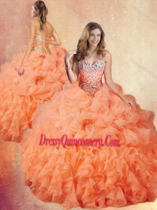 2016 Classic Brush Train Sweet 16 Gowns with Ruffles and Pick Ups