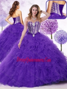 2016 Classic Sweetheart Quinceanera Gowns with Beading and Ruffles