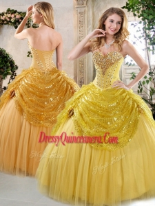 2016 Gorgeous Ball Gown Sweet 16 Dresses with Beading and Paillette for Fall