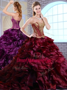 2016 Gorgeous Brush Train Ruffles and Appliques Quinceanera Gowns in Wine Red