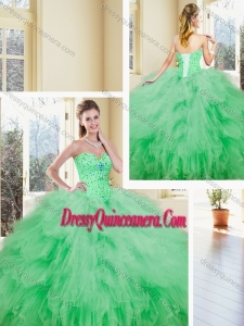 2016 Gorgeous Sweetheart Beading and Ruffles Quinceanera Dresses