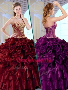 Gorgeous Ball Gown Sweetheart Sweet 16 Dresses with Ruffles and Appliques