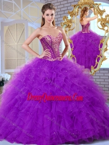 Gorgeous Sweetheart Ruffles and Appliques Sweet 16 Gowns