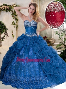 2016 Gorgeous Brush Train Quinceanera Dresses with Pick Ups and Embroidery