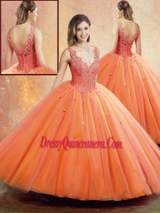 2016 Romantic Straps Orange Sweet 16 Dresses with Beading and Appliques
