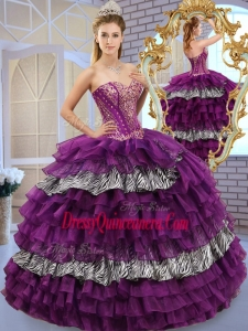 2016 Simple Sweetheart Ball Gown Sweet 16 Dresses with Ruffled Layers and Zebra