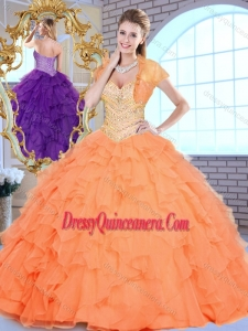Beautiful Sweetheart Beading and Ruffles Sweet 16 Dresses in Orange