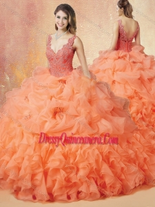 Latest V Neck Beading and Ruffles Romantic Quinceanera Dresses with Brush Train