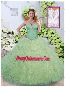 Romantic Ball Gown Beading and Ruffles Quinceanera Dresses