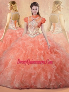 Romantic Straps Open Back Sweet 16 Dresses with Beading and Ruffles