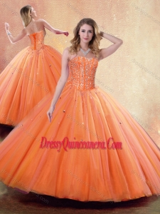 Simple Ball Gown Sweetheart Orange Quinceanera Dresses with Beading