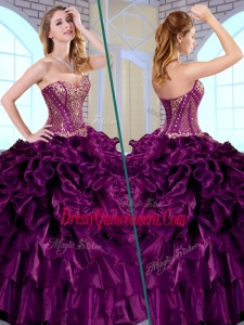 Traditional Ball Gown Sweetheart Ruffles and Appliques Quinceanera Gowns