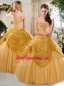 Traditional Floor Length Quinceanera Gowns with Beading and Paillette for Fall