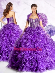 Traditional Sweetheart Quinceanera Gowns with Beading and Ruffles