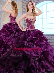 Wonderful Brush Train Dark Purple Traditional Quinceanera Gowns with Ruffles and Appliques