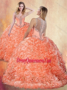 Beautiful Straps Brush Train Quinceanera Dresses with Ruffles and Appliques