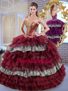 Fashionable Sweetheart Ball Gown Ruffled Layers and Zebra Sweet 16 Dresses