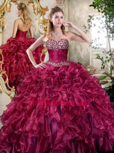 New Style Burgundy Quinceanera Gowns with Beading and Ruffles
