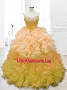 Fashionable Sweetheart Custom Made Quinceanera Dresses in Gold