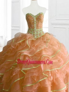Latest Ball Gown Beading and Ruffles Custom Made Quinceanera Dresses