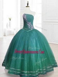 Classical Strapless Custom Made Quinceanera Dresses in Dark Green