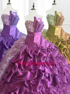 Fashionable Strapless Custom Made Quinceanera Dresses with Sequins and Ruffles