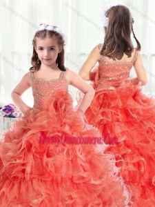Fashionable Straps Little Girl Pageant Dresses with Beading and Ruffles