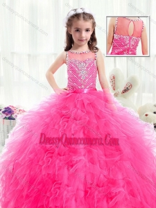 Beautiful Bateau Hot Pink Little Girl Pageant Dresses with Beading