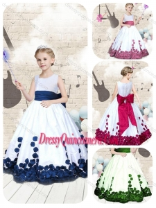 Hot Sale Scoop Long Little Girl Pageant Dresses with Bowknot