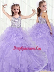 Lovely Scoop Lavender Little Girl Pageant Dresses with Beading and Ruffles