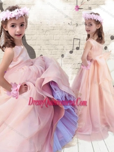 Pretty Ball Gown Peach Flower Girl Dresses with Bowknot