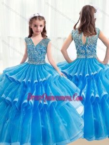 Pretty V Neck Baby Blue Little Girl Pageant Dresses with Ruffled Layers