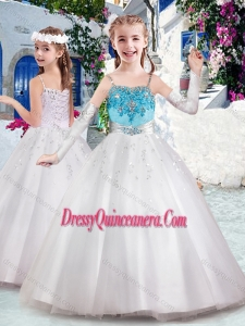 2016 Affordable Spaghetti Straps Little Girl Pageant Dress with Appliques and Bubles