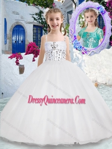 Affordable Spaghetti Straps Ball Gown Little Girl Pageant Dress with Beading