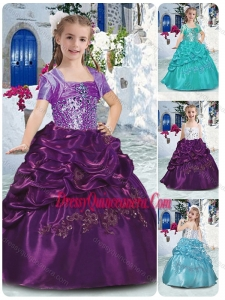 2016 Affordable Spaghetti Straps Little Girls Pageant Dresses with Beading and Bubles