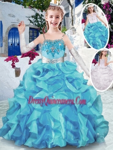 Affordable Spaghetti Straps Little Girls Pageant Dresses with Appliques and Ruffles