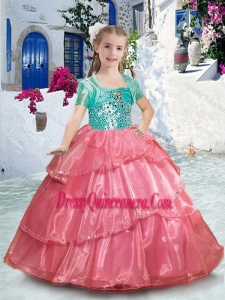 Affordable Spaghetti Straps Little Girls Pageant Dresses with Ruffles and Beading
