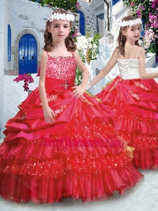 2016 Affordable Ball Gown Little Girl Pageant Dress with Ruffled Layers and Beading